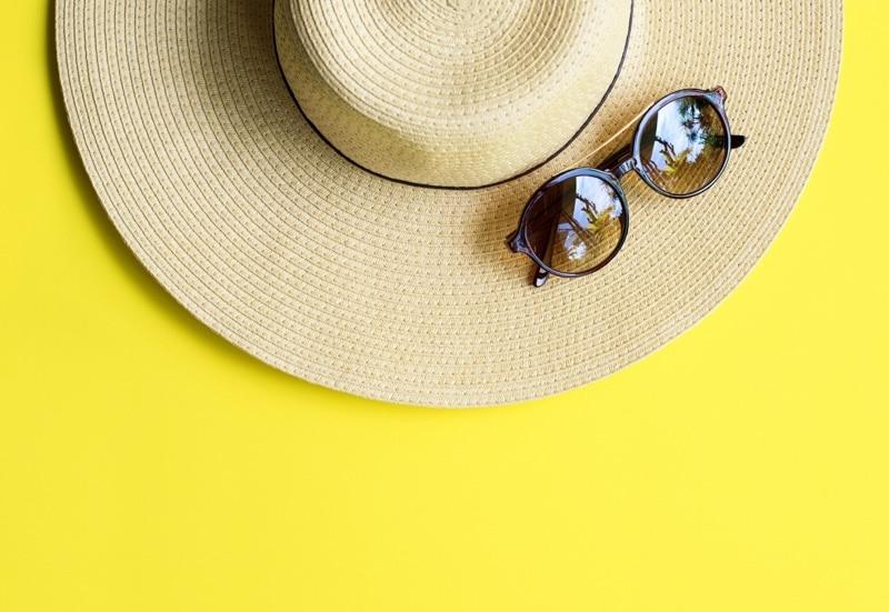 sunglasses and sun hat