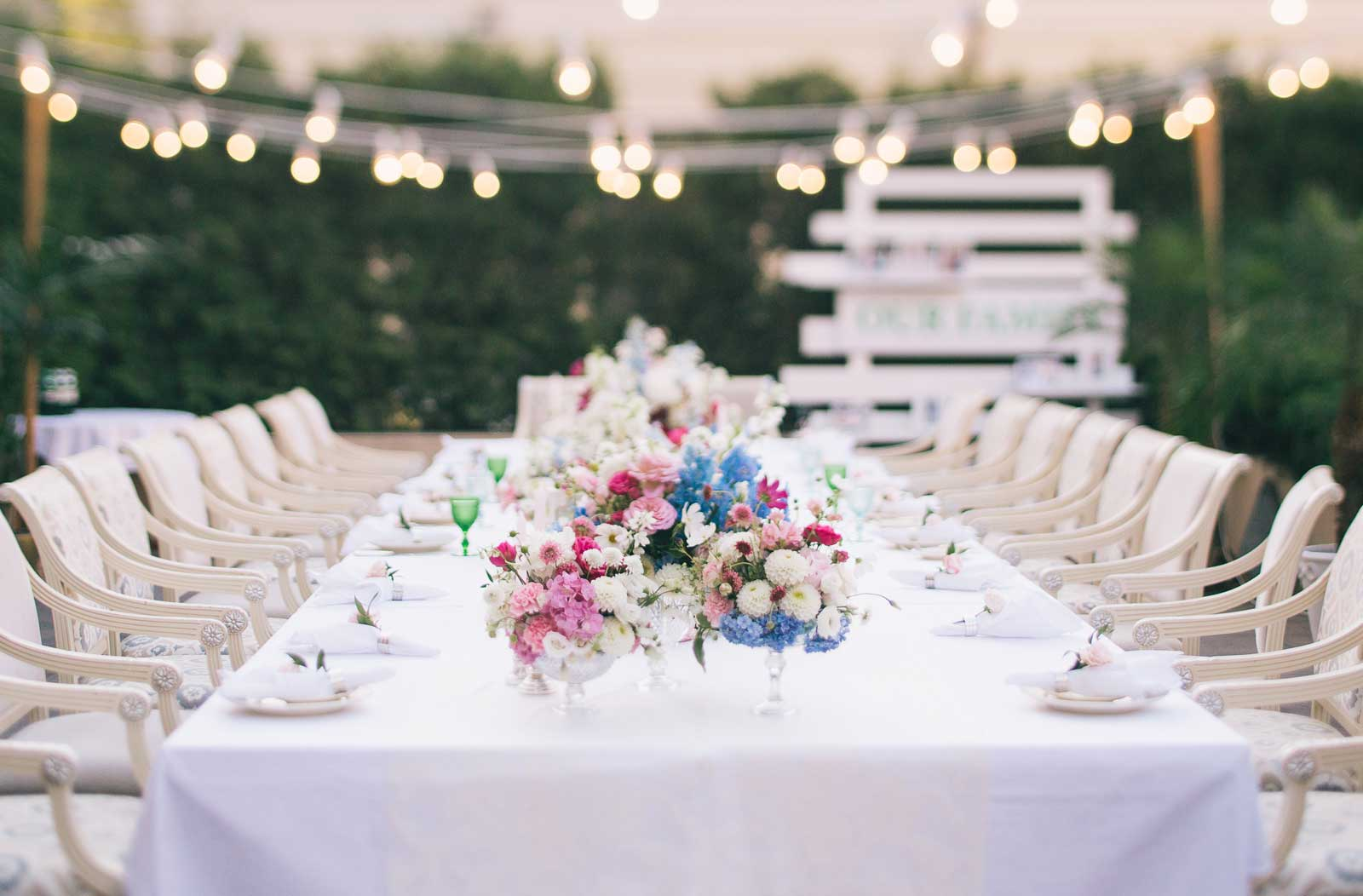 reception table for wedding with flowers